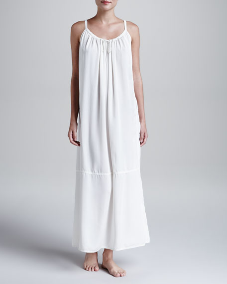 Laundered Satin Tank Gown, White