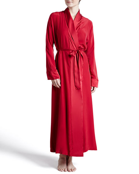 Glamour Silk Long Robe, Cardinal