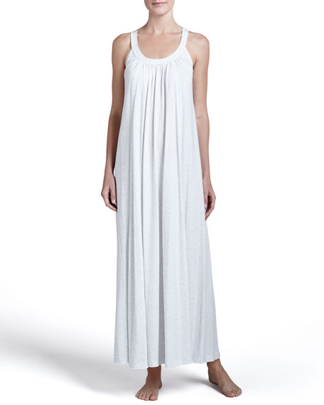 Pima Cotton Relaxed Gown, Heather Gray