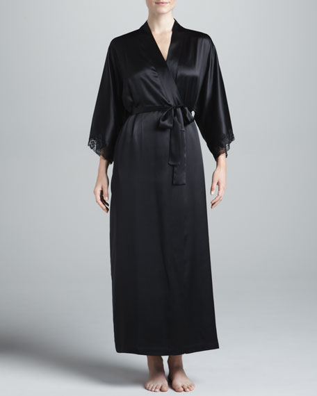Silk Long Robe, Black