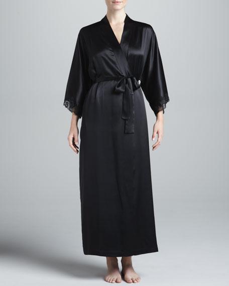 Silk Long Robe, Black