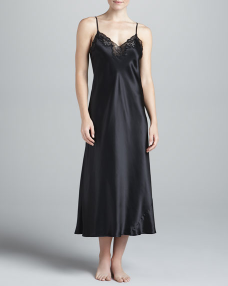 Silk Long Nightgown, Black