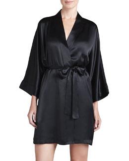Neiman Marcus Silk Short Robe, Black