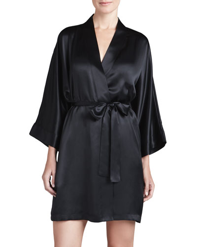Neiman Marcus Silk Short Robe, Black