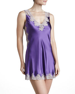 Neiman Marcus Silk Lace-Trim Chemise, Violet/Shadow Lace