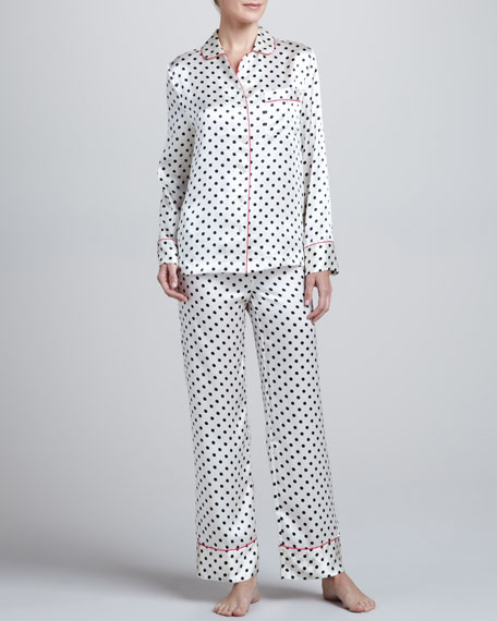 Contrast-Trim Polka-Dot Silk Pajamas