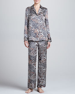 Neiman Marcus Animal-Print Silk Pajamas