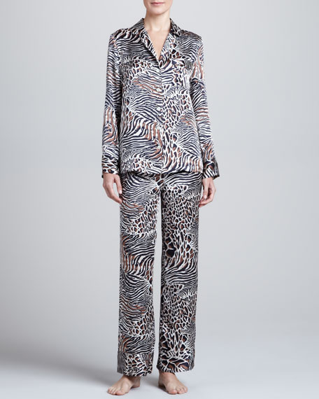 Animal-Print Silk Pajamas