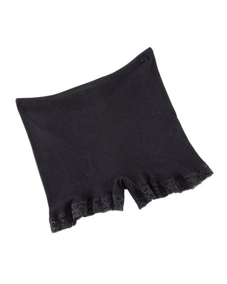 Woolen Lace-Trim Boy-Leg Briefs, Black