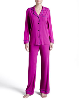 Cosabella Bella Piped Solid Pajamas, Jelly/Sweet Grape