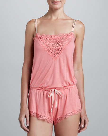 Olga Lace-Trim Jumpsuit, Sunset Pink