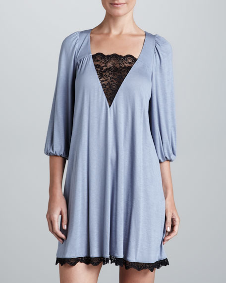 Esther Lace-Trim Sleep Tunic, Blue