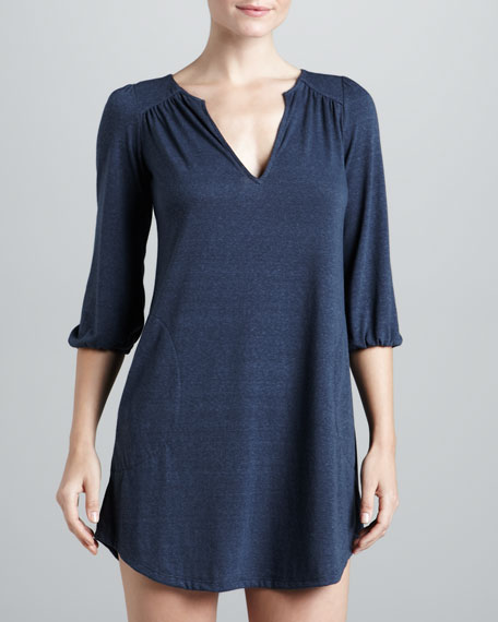 Heather Slub Jersey Sleep Tunic, Coal