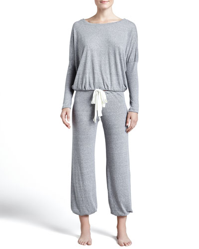 Slouchy Drawstring Pants, Gray Heather