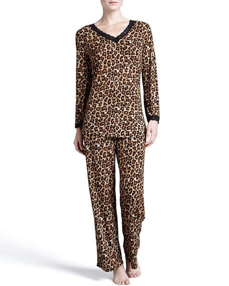Leopard-Print Lace-Trim Pajamas