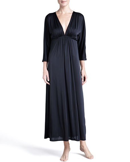 Aphrodite 3/4-Sleeve Slinky Gown, Black