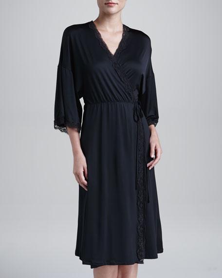 Scarlett Short Lace-Trim Jersey Robe