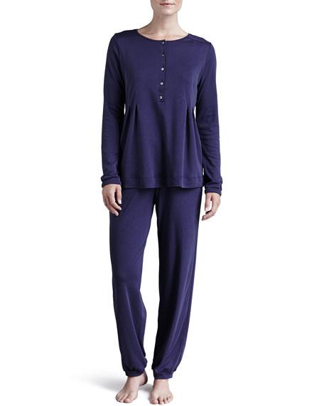 Rose Brushed-Cotton Pajama Top