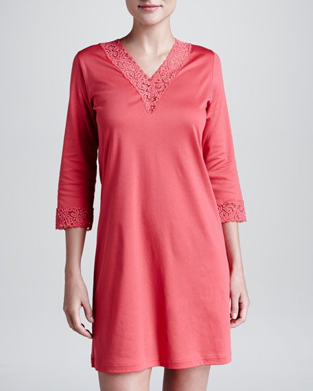 Moments Lace-Trim Bigshirt, Tomato