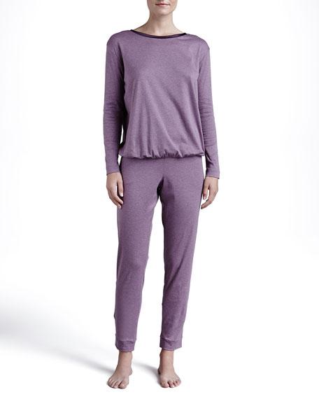Calista Satin-Trim Pajama Set, Deep Violet