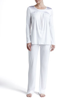 Hanro Sophia Interlock Pajama Set, Off White