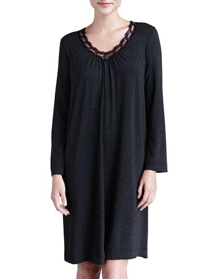 Liz Lace-Trim Long-Sleeve Gown