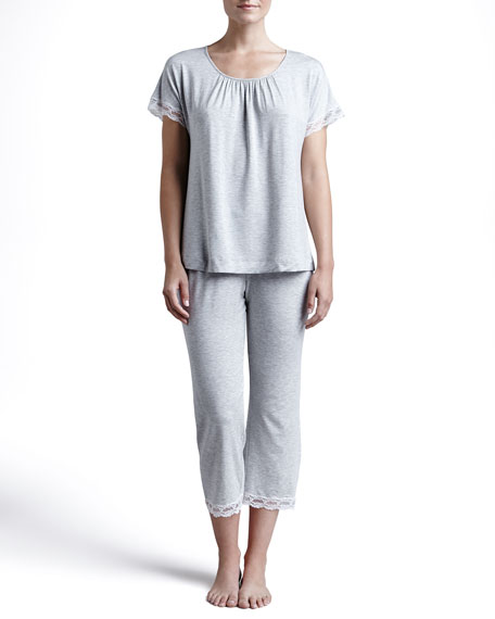 Liz Cropped Lace-Trim Pajamas