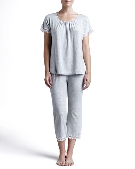 Liz Cropped Lace-Trim Pajamas