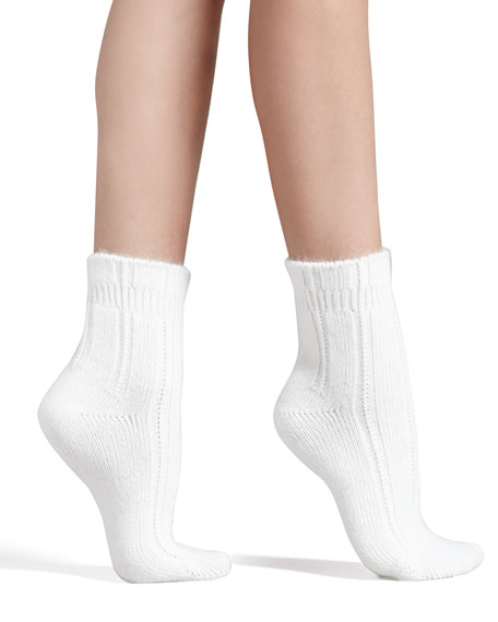 Cozy Ribbed Bedsocks, Ivory