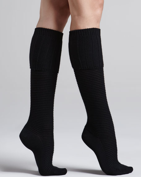 Horizontal-Rib Knee-High Socks, Black