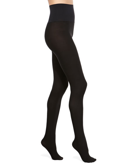 Perfectly Opaque Matte Control-Top Tights, Black