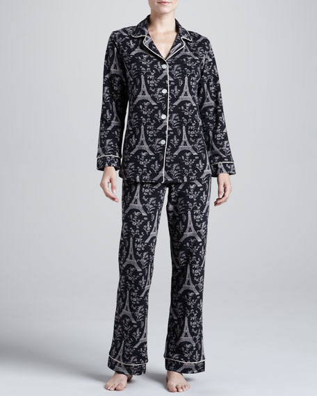 Eiffel Tower-Print Knit Pajamas
