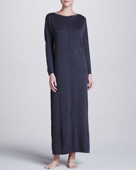 Zana Knit Long Gown, Charcoal