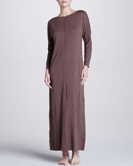 Natori Zana Knit Long Gown, Dark Taupe