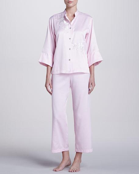 Glory Embroidered Pajamas, Scarlet Pink