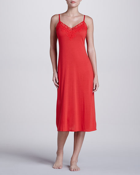 Lhasa Lace-Trim Jersey Gown, Poppy