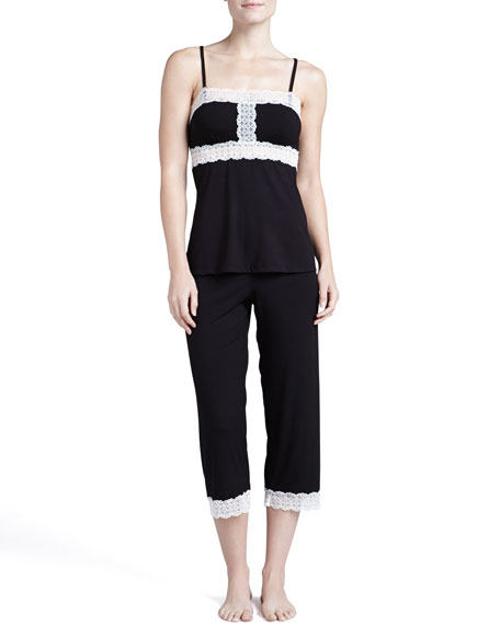 Mora Crop Pants, Black/Ivory