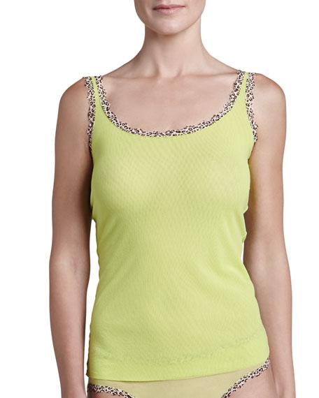 Celine Leopard-Trim Camisole, Neon Green