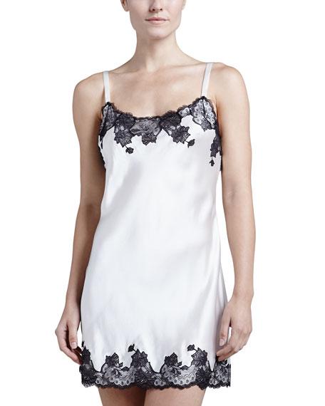 Lolita Basic Silk Chemise, Warm White/Black