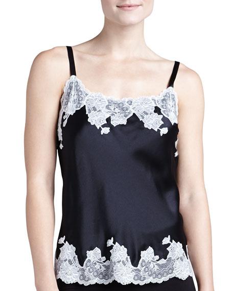 Lolita Basic Silk Camisole, Black/Warm White