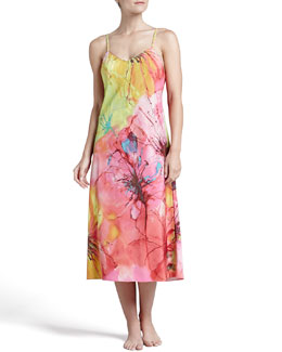 Natori Gala Satin Watercolor Gown