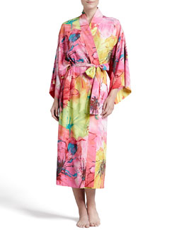 Natori Gala Satin Watercolor Robe