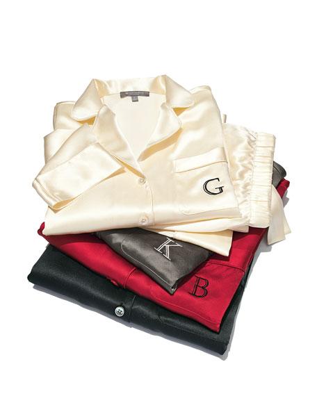 Monogrammed Silk Pajamas, Red