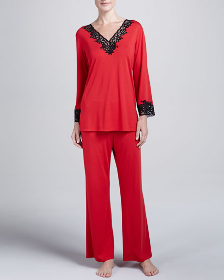 Lhasa Jersey Pajamas, Red/Black
