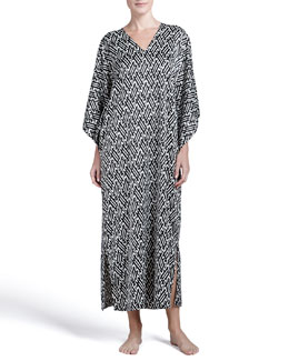Natori Wan Satin Long Caftan, Black/White