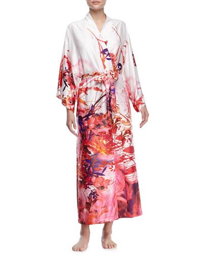 Rococo Multi-Print Long-Sleeve Wrap Robe