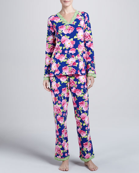 Cabbage-Rose-Print Lace-Trim Pajama Set