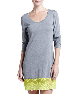 Josie Essential Lace-Hem Sleep Shirt, Heather Gray