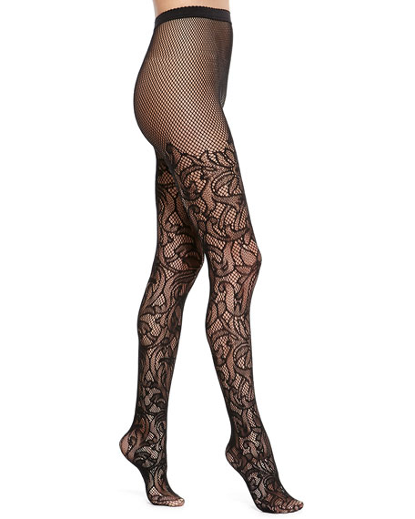Wolford Nahla Floral Tights, Black