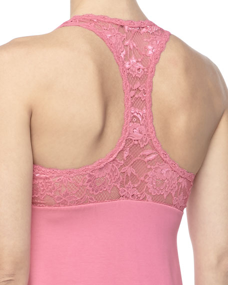 Never Say Never Racie Lace & Jersey Chemise, Miami Pink